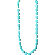 SALE Turquoise Howlite Large Beads Long Necklace Beautiful Color Aqua