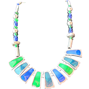 SALE Enamel Necklace of Green and Blue Enamel with Silver Beads