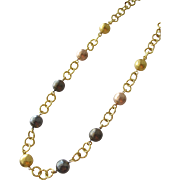 SALE Chain Necklace with Metal Beads of Gold Pewter and Copper Italy