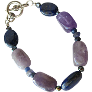 SALE Amethyst Bracelet with Sterling Silver and Lapis