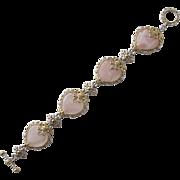 SALE Heart Bracelet Pink Quarts with Ornate Details
