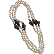 SALE Necklace of White Pearls with Copper and Blue Beads Fifty Two Inches