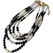 SALE Necklace of Simulated White Pearls and Black Beads