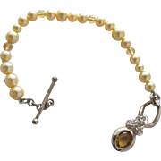 SALE Cultured Pearl Bracelet with Crystal Beads and Sterling Silver Clasp Charm