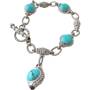 SALE Bracelet Turquoise and Silver Chain Bracelet