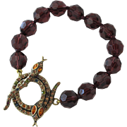 SALE Crystal Beaded Bracelet with Jeweled Snakes for Latch