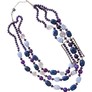 SALE Necklace of Lapis Stone Amethyst Quartz Glass Beads and Sterling Silver