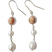 SALE Pearl Earrings with Carved Cameos from Italy