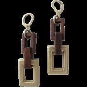 SALE Earrings Vintage Modern Wood and Metal Pierced
