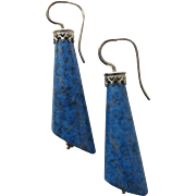 SALE Pierced Earrings with Lapis Lazuli Stones and Sterling Silver
