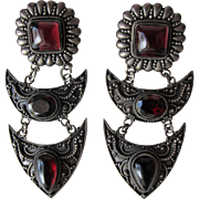 Pierced Earrings In Sterling Silver and Garnet Color Cabochon Stones