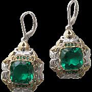 SALE Earrings Sterling Silver  Brazilian Cut Green Quartz Glass Ekaterina Gems-en-Vogue-