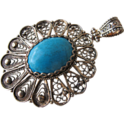 SALE Sterling Silver Pendant with Turquoise Stone Marked 925 Silver Filigree