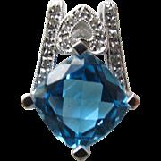 Blue Topaz Pendant with Diamonds 14K Gold