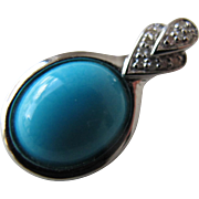 SALE Turquoise Pendant Detailed in Diamond Points in Sterling Silver Great Clasp
