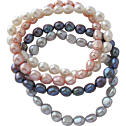 SALE Four Pearl Bracelets of Cultured Freshwater Pearls Stretch Bracelet