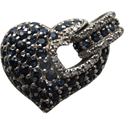 SALE Heart Pendant in Sterling Silver with Sapphire Gemstones Marked 925