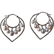 SALE Pearl Earrings with Heart Shaped Pierced Earrings with Cultured Fresh Water Pearls
