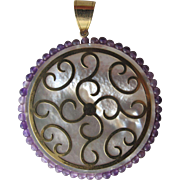 SALE Pendant of 14K Gold Mother of Pearl and Amethyst Beads
