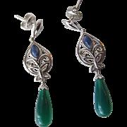 SALE Earrings in Jadeite Drops and Sterling Silver Butterflies Pierced Earrings