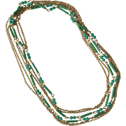 SALE Vintage Chain Necklace with Jade Beads 1960's