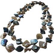 SALE Necklace of Natural MOP and Abalone Beaded Necklace Vintage