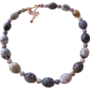SALE Necklace of Natural Purple Polished Stones