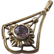 SALE Art Nouveau Pendant with Amethyst Gemstone Sterling with Gold Overlay