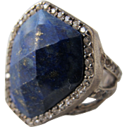 SALE Blue Stone Ring with Sterling Silver and Bling Size 8
