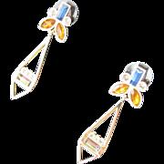 SALE Jeweled Stone Earrings Butterfly Estate Sale Jewelry