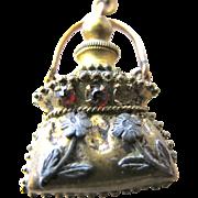 Chatelaine Perfume Bottle and Chain Tiny Jeweled