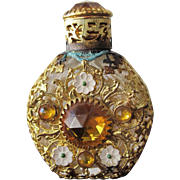 SALE Jeweled Perfume Bottle Czechoslovakian Mini Purse Perfume Gold Stones