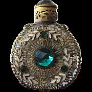 SALE Marked Czechoslovakian Perfume Bottle Jeweled with Filigree Glass Stones and Enamel