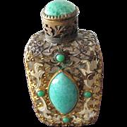 Czechoslovakian Perfume Bottle Jeweled Faux Jade Stones with Filigree and Enamel