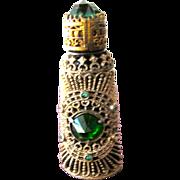 SALE Czechoslovakian Perfume Bottle Jeweled Green Glass Stones with Filigree