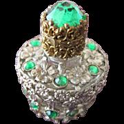 Jeweled Perfume Bottle Czechoslovakian Mini Purse Perfume Green Stones