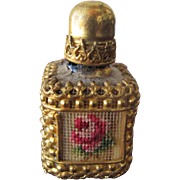 Vintage French Perfume Bottle Mini with Petite Point Rose FREE Shipping