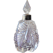 SALE Victorian Perfume Bottle Glass with Metal Collar 1900