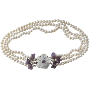 SALE Pearl Necklace Choker with Amethyst Quartz Beads MOP Flower Pendant Cultured Freshwater .