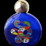 SALE Perfume Bottle Niki De Saint Phalle Blue Glass with Painted Snakes