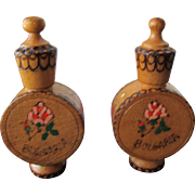 SALE Two Perfume Bottles Wood Containers Holding Rose Oil From Bulgaria