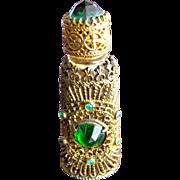SALE Jeweled Perfume Bottle Czechoslovakian Mini Purse Perfume Green