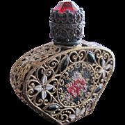 SALE Jeweled Czechoslovakian Perfume Bottle Mini Black  Rhinestones Filigree Enamel