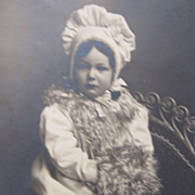 Post Card of Young Girls with Hat and Hand Muff Unused