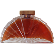 Karl Lagerfeld Perfume Bottle Fan Shaped Glass with Brass Top