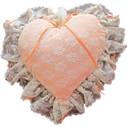 Heart Pillow in Satin and Lace Peach Pillow with Tiny Satin Bows