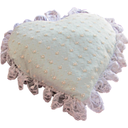 Heart Pillow for Wedding Ring Barer or Decoration in Blue Satin White Lace and Pearls