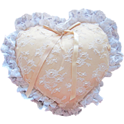 SALE Heart Pillow for Wedding Ring Barer or Decoration in Satin Lace and Pearl Beading