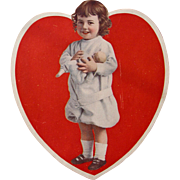SALE Valentine's Card Cardboard Large Heart Girl with Doll