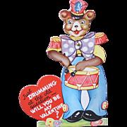 SALE Mechanical Valentine's Day Card with Cute Teddy Bear